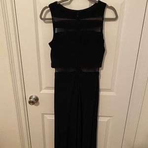 Navy fitted floor length dress